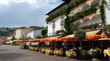 The al fresco dining terraces in Ascona.